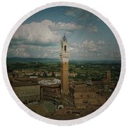 Clouds Over Siena Round Beach Towel
