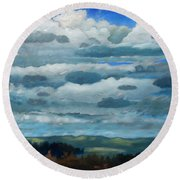 Round Beach Towel featuring the painting Clouds Over South Bay by Gary Coleman