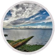 Clouds Over The Bay Round Beach Towel