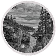 Clouds Over The Cliffs Round Beach Towel