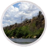 Clouds Over The Kern Round Beach Towel