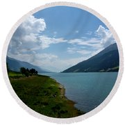 Clouds Over The Lake Round Beach Towel