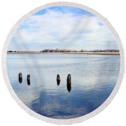 Round Beach Towel featuring the photograph Clouds Over The Mullica River by Colleen Kammerer