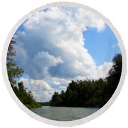 Clouds Over The Platte River Round Beach Towel