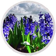 Clouds Over The Purple Hyacinth Field Round Beach Towel by Mihaela Pater