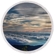 Round Beach Towel featuring the photograph Clouds Over The Smoky's by Douglas Stucky