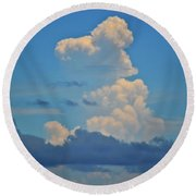 Round Beach Towel featuring the photograph Clouds Over Tybee Island by Tara Potts