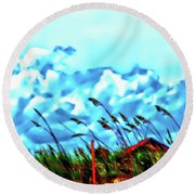 Clouds Over Vilano Beach Round Beach Towel