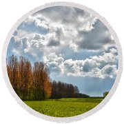 Round Beach Towel featuring the photograph Clouds Over Voorne by Frans Blok