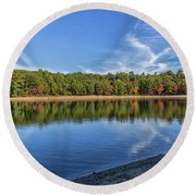 Clouds Over Walden Pond Round Beach Towel by Brian MacLean