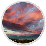 Clouds Over Warner Springs Round Beach Towel
