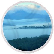 Clouds Over Western Foothills Round Beach Towel