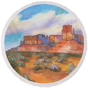 Round Beach Towel featuring the painting Clouds Passing Monument Valley by Diane McClary