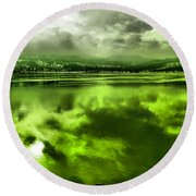 Round Beach Towel featuring the photograph Clouds Reflecting Off The Columbia  by Jeff Swan