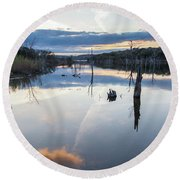 Clouds Reflecting On Large Lake During Sunset Round Beach Towel