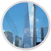 Clouds Reflection Round Beach Towel