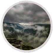 Clouds Rising At Lindy Point Round Beach Towel