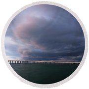 Clouds Roll Over Sunshine Skyway Round Beach Towel