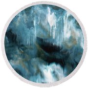 Clouds Rolling In- Abstract Art By Linda Woods Round Beach Towel