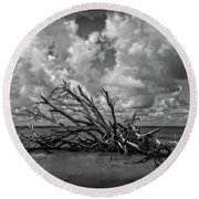 Clouds Trees Water Round Beach Towel