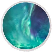 Clouds Vs Aurorae Round Beach Towel