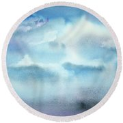 Round Beach Towel featuring the painting Cloudscape by Ellen Levinson