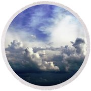 Cloudscape Fourteen Round Beach Towel by Tom Druin