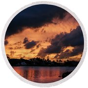 Round Beach Towel featuring the photograph Cloudscape by Laura Fasulo