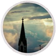 Cloudscape Sunset Old Town Riga Latvia Round Beach Towel