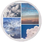 Round Beach Towel featuring the photograph Cloudscapes Collage by Jenny Rainbow