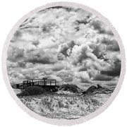 Round Beach Towel featuring the photograph Cloudy Beach Black And White By Kaye Menner by Kaye Menner