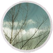 Round Beach Towel featuring the photograph Cloudy Blue Sky Through Tree Top No 1 by Ben and Raisa Gertsberg