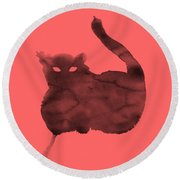 Round Beach Towel featuring the painting Cloudy Cat by Marc Philippe Joly