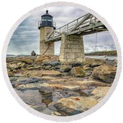 Round Beach Towel featuring the photograph Cloudy Day At Marshall Point by Rick Berk