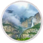 Cloudy Day At Yosemite Falls Digital Watercolor Round Beach Towel