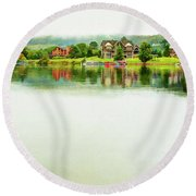 Cloudy Day On The Lake Round Beach Towel
