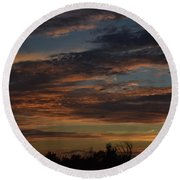 Round Beach Towel featuring the photograph Cloudy Kansas Evening by Mark McReynolds