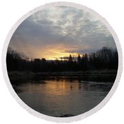 Cloudy Mississippi River Sunrise Round Beach Towel by Kent Lorentzen