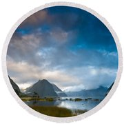 Cloudy Morning At Milford Sound At Sunrise Round Beach Towel