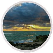 Cloudy Morning Rays Round Beach Towel by Tom Claud