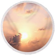Cloudy Pink Sky Round Beach Towel