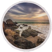 Cloudy Point Dume Sunset Round Beach Towel