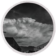 Cloudy Sky Over Bolzano Round Beach Towel