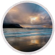 Cloudy Sunset At Hanalei Bay Round Beach Towel