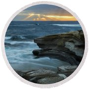 Cloudy Sunset At La Jolla Shores Beach Round Beach Towel