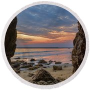 Cloudy Sunset At Low Tide Round Beach Towel