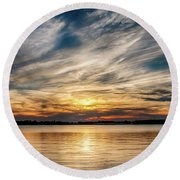 Cloudy Sunset Round Beach Towel by Doug Long