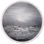 Cloudy Waves 10 Round Beach Towel