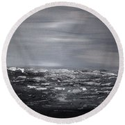 Cloudy Waves 11 Round Beach Towel