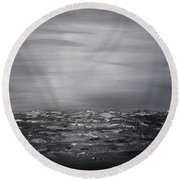 Cloudy Waves 12 Round Beach Towel
